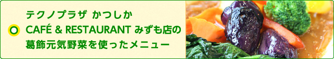 テクノプラザ かつしか CAFÉ & RESTAURANT みずも店「葛飾元気野菜」を使ったメニューレポート